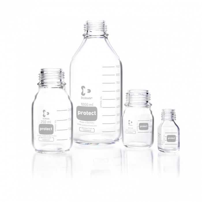 DURAN® protect Laboratory Bottle clear, without screw cap and pouring ring