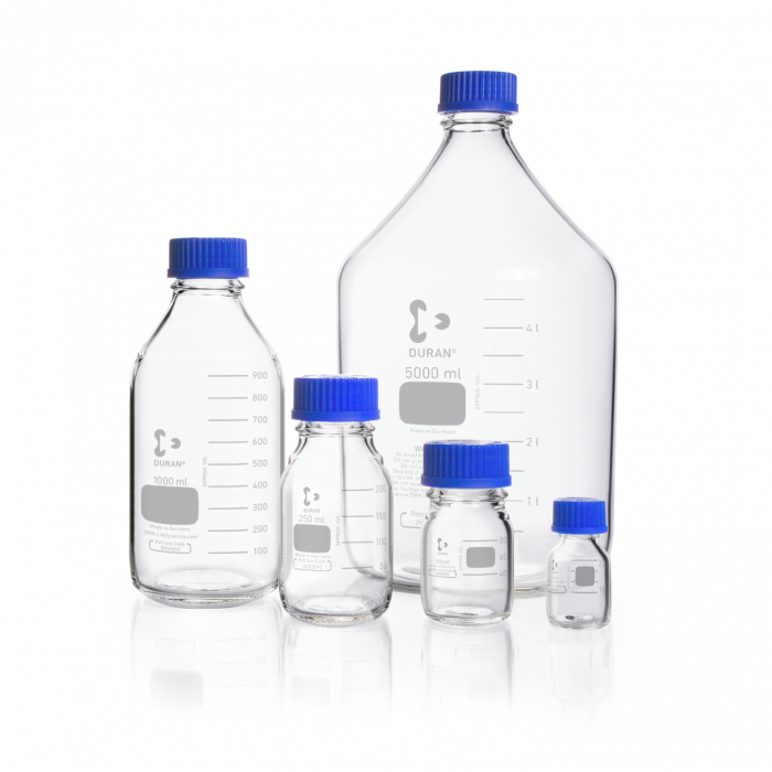 DURAN® Original Laboratory Bottle clear, with screw cap and pouring ring