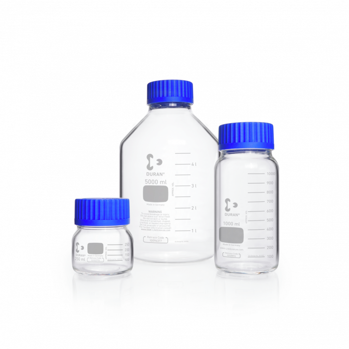 DURAN® GLS 80® Laboratory bottle Wide Mouth Clear, with screw cap and pouring ring from PP (blue)