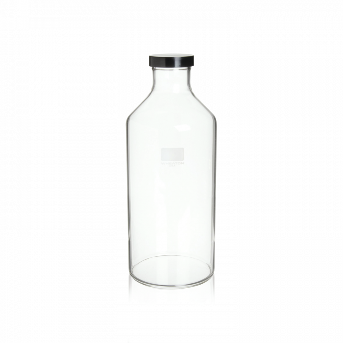 WHEATON® Roller bottle With 51mm Black Phenolic Screw Cap With Shallow Skirt and White Styrene-butadiene Rubber Liner (GPI 51-400), 1760 mL