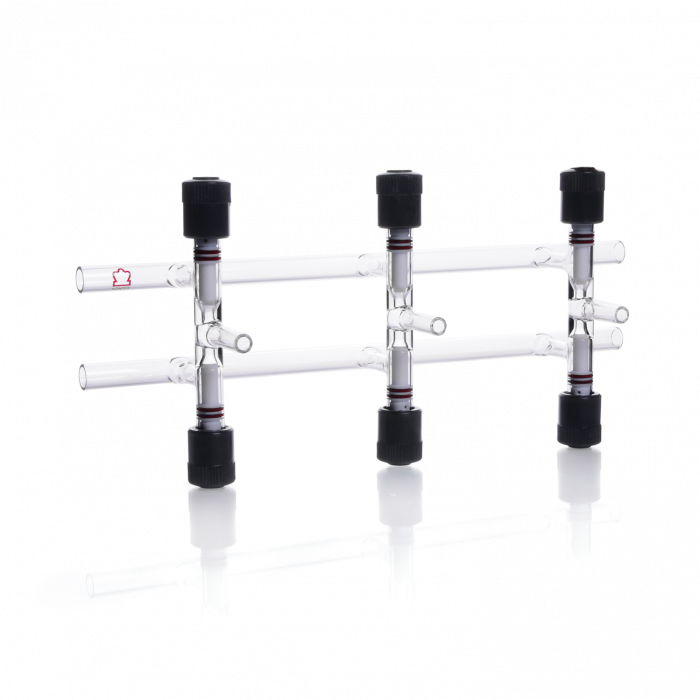 KIMBLE® KONTES® Double Vacuum and Gas Manifold, With PTFE Valves, 300 mm, 3 Places
