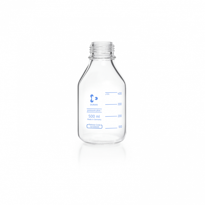 DURAN® pressure plus+ GL 45 Laboratory Bottle, clear, without screw cap and pouring ring, 500 mL
