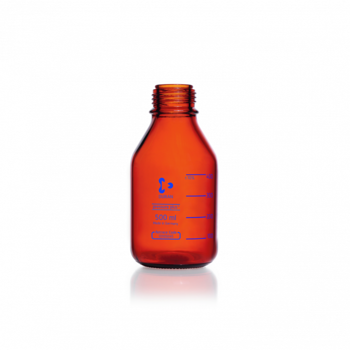 DURAN® pressure plus+ GL 45 Laboratory Bottle, amber, without screw cap and pouring ring, 500 mL