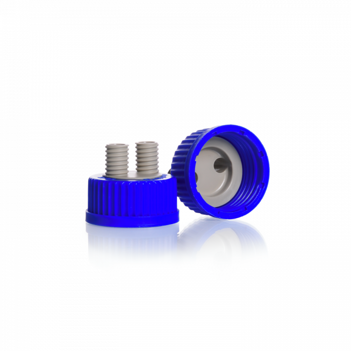 DURAN® GL 45 Screw Connection Cap, with 2 GL 14 ports, PP, blue/grey