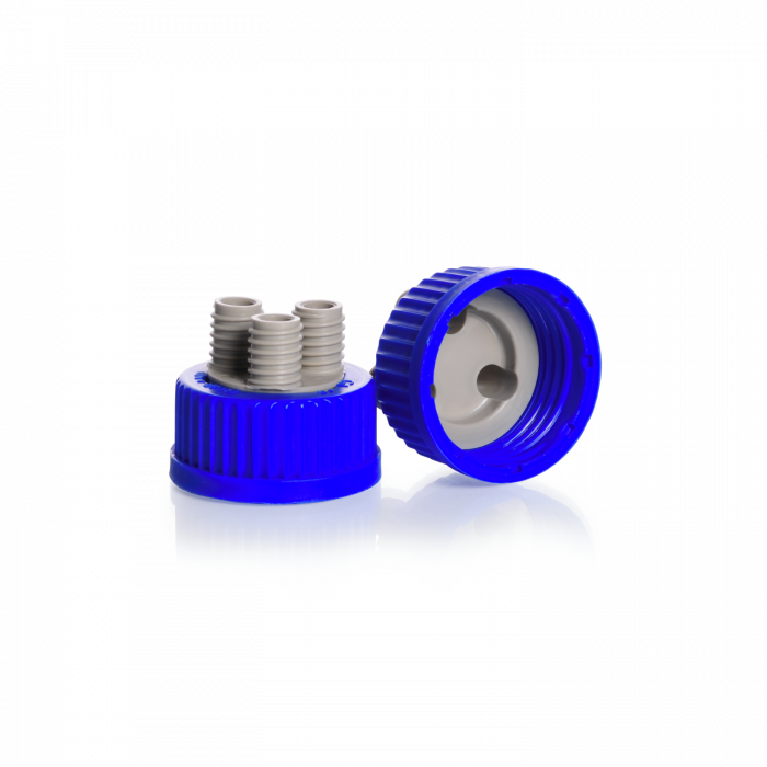 DURAN® GL 45 Screw Connection Cap, with 3 GL 14 ports, PP, blue/grey