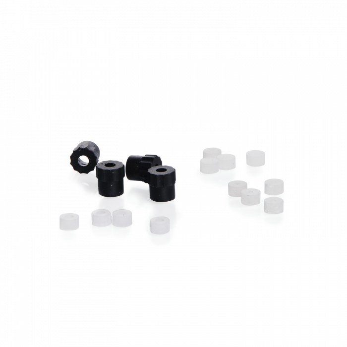 Replacement Parts Set for DURAN® GL 45 HPLC Screw Cap, includes 4x M8 caps  and 12x silicone tubing seals (1.6 or 3.2 mm) or closure seals