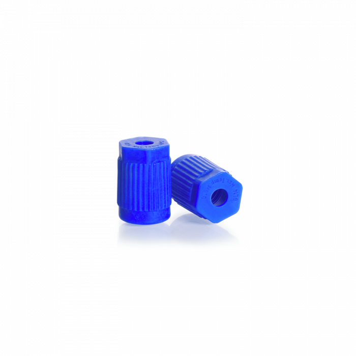 DURAN® GL 14 Screw Cap open top, for tube connection, PP, blue (accessory for GL 45 screw connection cap system and stirred bottle reactor system)