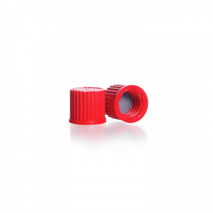 DURAN® GL 14 Blanking Screw Cap, with PTFE coated silicone seal, PBT, red (accessory for GL 45 screw connection cap system and stirred bottle reactor system)
