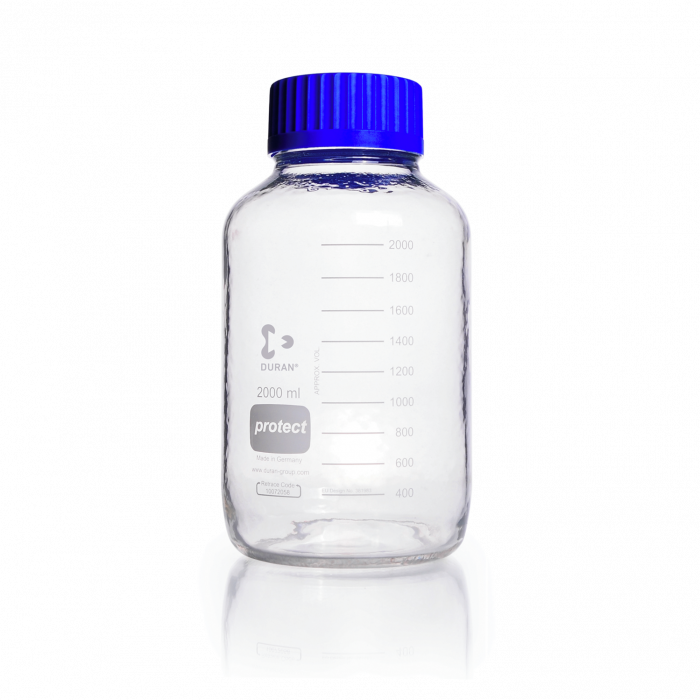 DURAN® Laboratory Bottle Wide Mouth GLS 80®, Protect coated Clear, with screw cap and pouring ring from PP (blue), 2000 mL