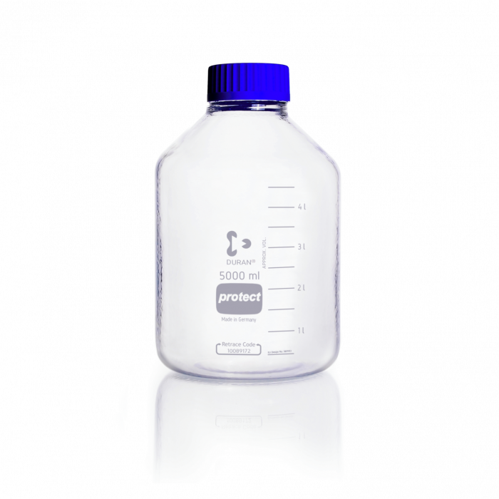 DURAN® Laboratory Bottle Wide Mouth GLS 80®, Protect coated Clear, with screw cap and pouring ring from PP (blue), 5000 mL