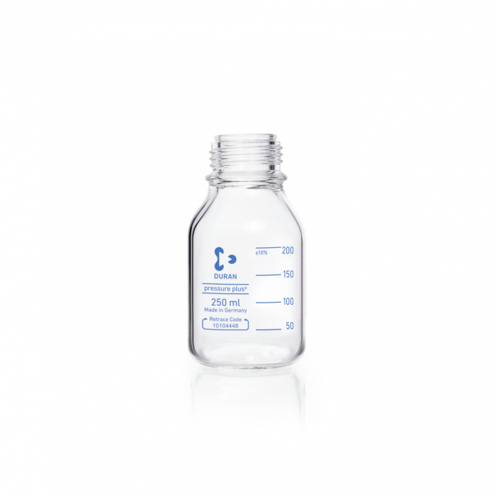 DURAN® pressure plus+ GL 45 Laboratory Bottle, protect, plastic safety coated, without screw cap and pouring ring, 250 mL