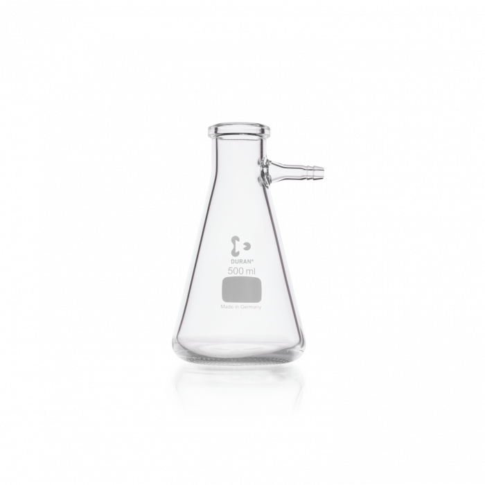 DURAN® Filtering Flask with glass hose connection, Erlenmeyer shape, 500 mL