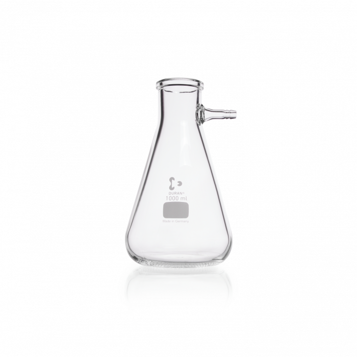 DURAN® Filtering Flask with glass hose connection, Erlenmeyer shape, 1000 mL