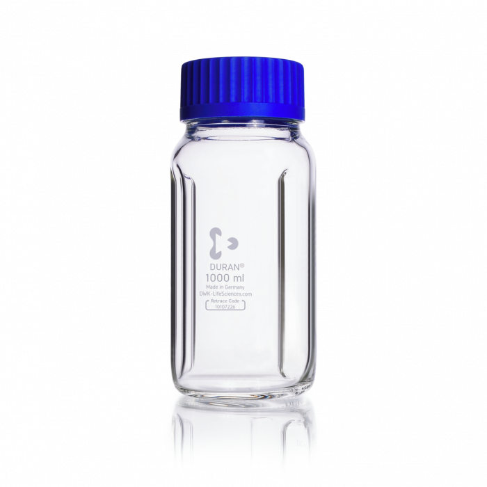 DURAN® Laboratory Mixing Bottle, Baffled, Wide Mouth GLS 80® Clear, with screw cap and pouring ring from PP (blue), 1000 mL