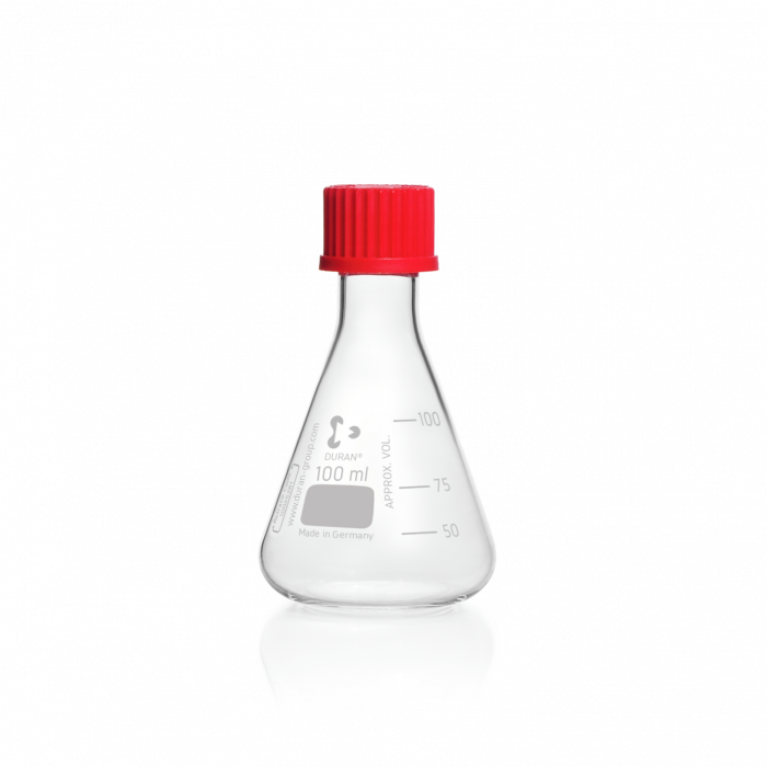 DURAN® Erlenmeyer Flask, with DIN thread, with PBT cap, 100 mL