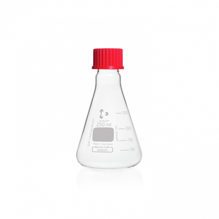 DURAN® Erlenmeyer Flask, with DIN thread, with PBT cap, 250 mL