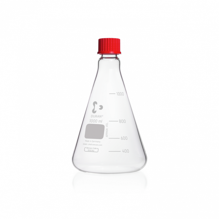 DURAN® Erlenmeyer Flask, with DIN thread, with PBT cap, 1000 mL