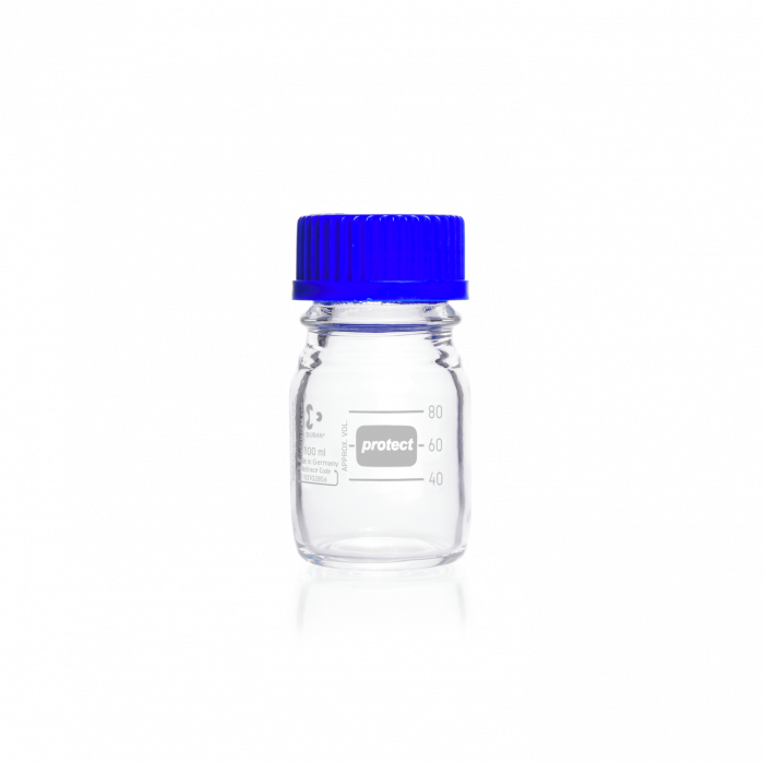 DURAN® protect GL 45 Laboratory Bottle, clear, plastic safety coated, with screw cap and pouring ring, PP, blue, 100 mL