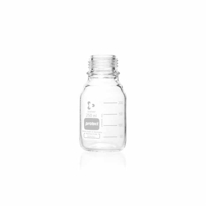 DURAN® protect GL 45 Laboratory Bottle, clear, plastic safety coated, without screw cap and pouring ring, 250 mL