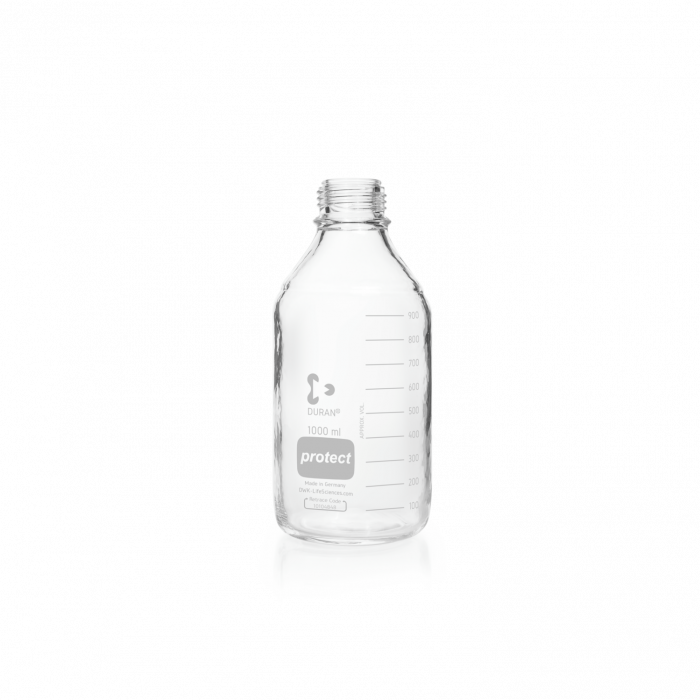 DURAN® protect GL 45 Laboratory Bottle, clear, plastic safety coated, without screw cap and pouring ring, 1000 mL
