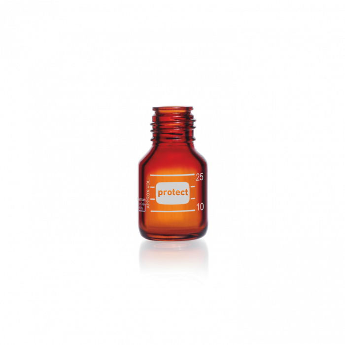DURAN® protect GL 25 Laboratory Bottle, amber, plastic safety coated, without screw cap and pouring ring, 25 mL