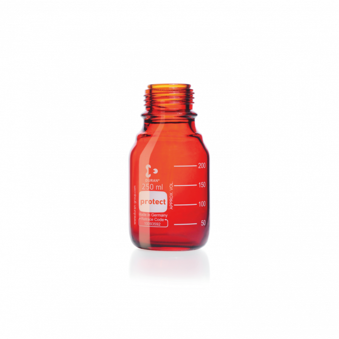 DURAN® protect GL 45 Laboratory Bottle, amber, plastic safety coated, without screw cap and pouring ring, 250 mL