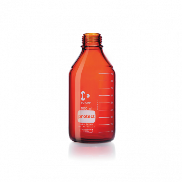 DURAN® protect GL 45 Laboratory Bottle, amber, plastic safety coated, without screw cap and pouring ring,1000 mL