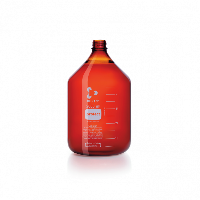 DURAN® protect GL 45 Laboratory Bottle, amber, plastic safety coated, without screw cap and pouring ring, 5000 mL