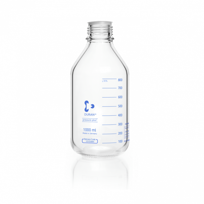 DURAN® pressure plus+ GL 45 Laboratory Bottle, clear, without screw cap and pouring ring, 1000 mL