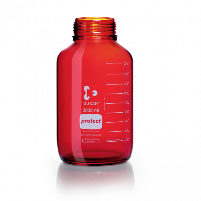 DURAN® Laboratory Bottle Wide Mouth GLS 80®, Protect coated Amber, Supplied as bottle only, no cap, 2000 mL