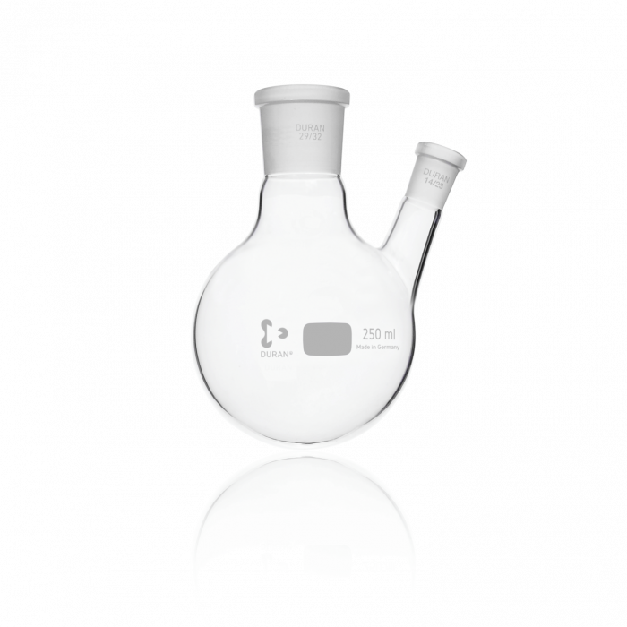 DURAN® Twin-Neck Round Bottom Flask, Centre Neck 29/32, Angled Side Neck NS 14/23, 250 mL