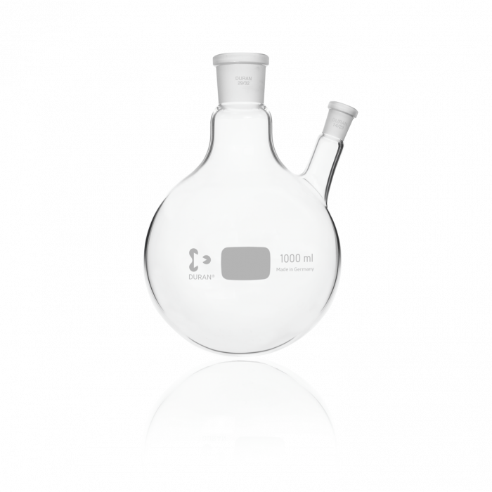DURAN® Twin-Neck Round Bottom Flask, Centre Neck 29/32, Angled Side Neck NS 14/23, 1000 mL