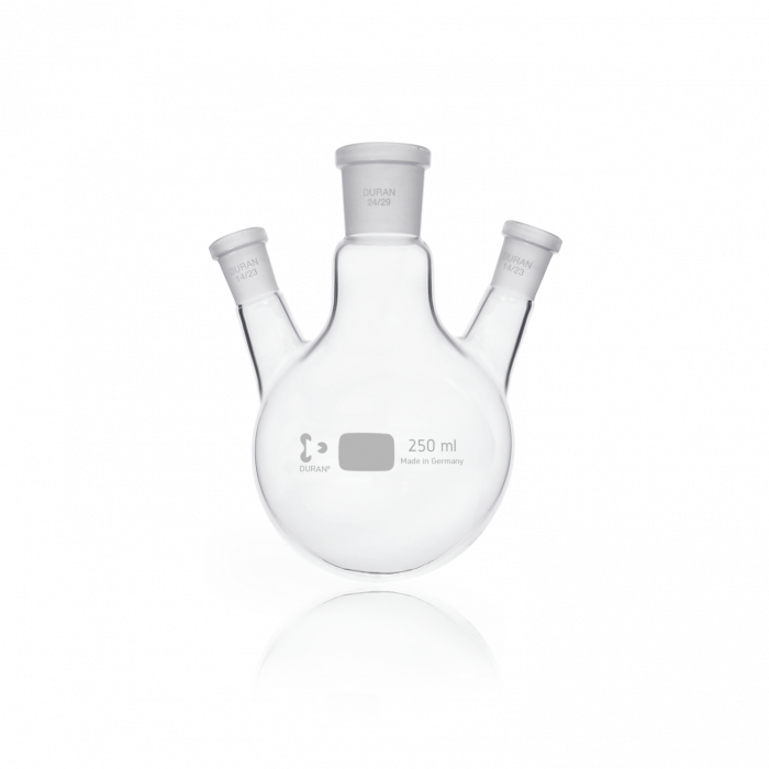 DURAN® Triple-Neck Round Bottom Flask, Centre Neck NS 24/29, Two Angled Side Necks NS 14/23, 250 mL