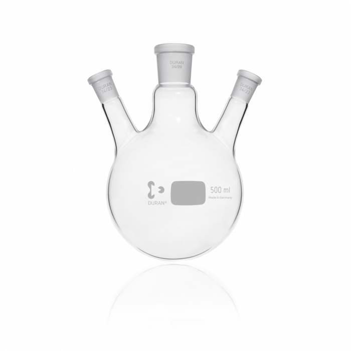 DURAN® Triple-Neck Round Bottom Flask, Centre Neck NS 24/29, Two Angled Side Necks NS 14/23, 500 mL