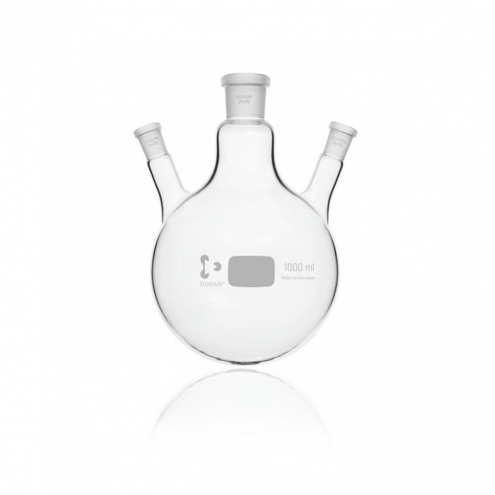 DURAN® Triple-Neck Round Bottom Flask, Centre Neck NS 24/29, Two Angled Side Necks NS 14/23, 1000 mL