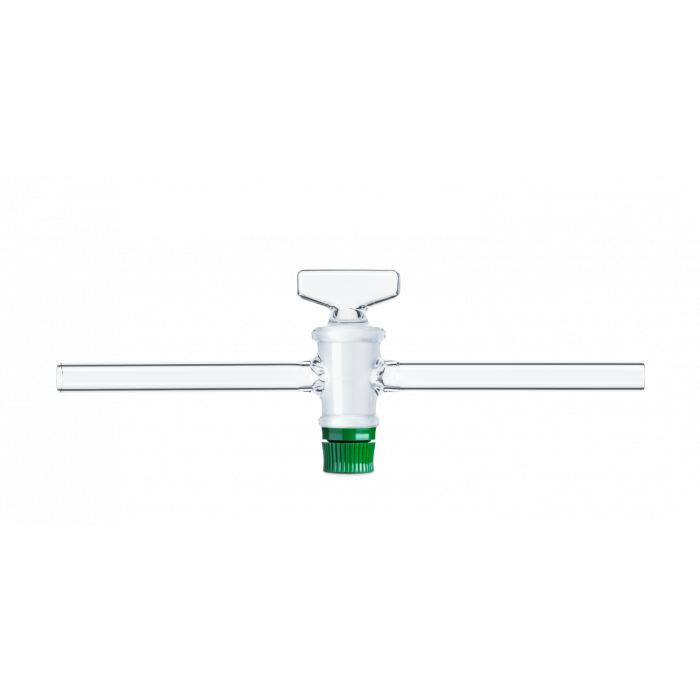 DURAN® Single-way Stopcock, with DURAN® threaded key and retaining device, bore 6 mm, NS 21.5