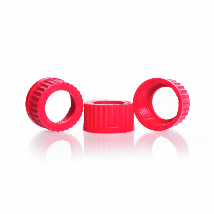 DURAN® Open Topped Red PBT Screw Cap GL 45, Central Aperture