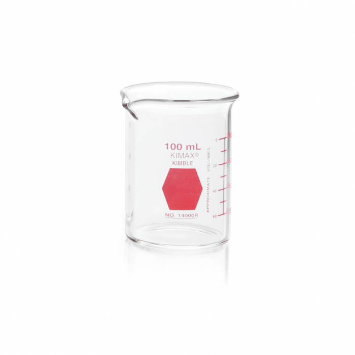KIMBLE® KIMAX® Colorware Beaker, low form, with spout, Red, 100 mL