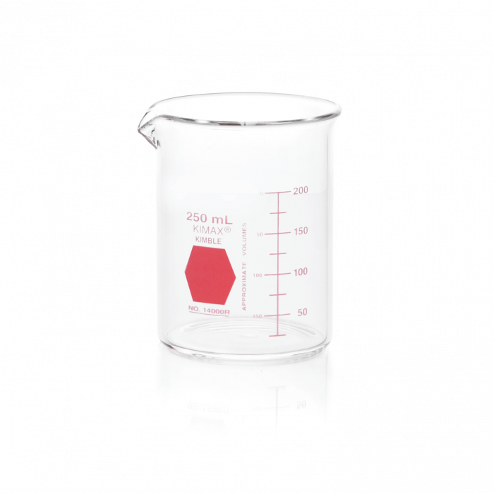 KIMBLE® KIMAX® Colorware Beaker, low form, with spout, Red, 250 mL