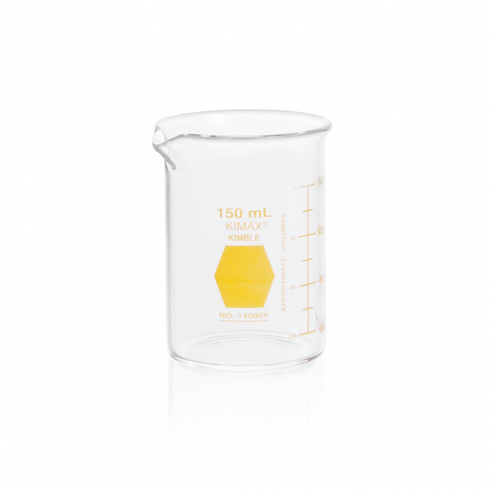 KIMBLE® KIMAX® Colorware Beaker, low form, with spout, Yellow, 150 mL