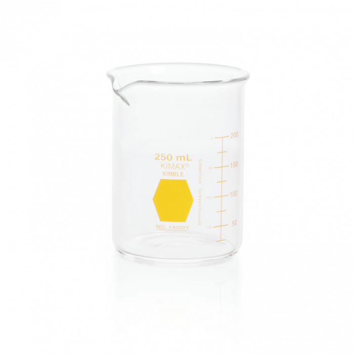 KIMBLE® KIMAX® Colorware Beaker, low form, with spout, Yellow, 250 mL