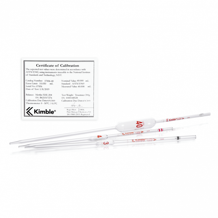 KIMBLE® KIMAX® Volumetric Pipet, Class A, TD, Serialized and Certified, 4 mL