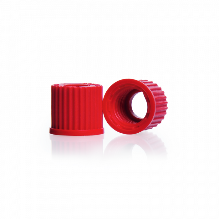 KIMBLE® MIDI-VAP™ 4000 Complete System Replacement Caps, Red High Temperature Open-Top GL-14 Screw Thread Cap, 180°C, PTFE/Silicone Liner