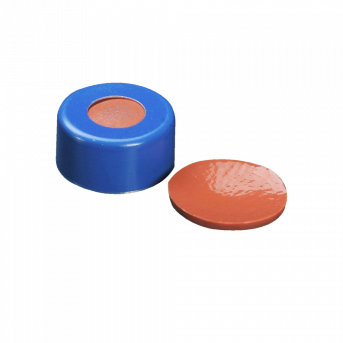WHEATON® µL MicroLiter® 11 mm Crimp Seals With Septa, PTFE/Red Rubber, Blue