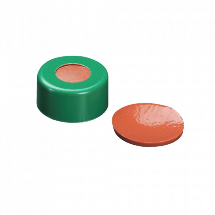 WHEATON® µL MicroLiter® 11 mm Crimp Seals With Septa, PTFE/Red Rubber, Green