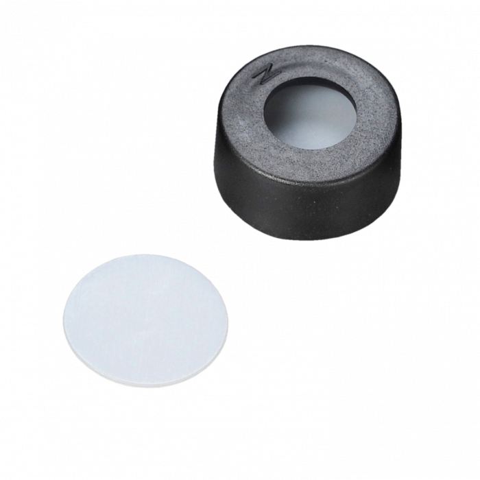 WHEATON® µL MicroLiter® 11 mm Snap Cap With Septa, PTFE Disk Septa, Black, Case of 100