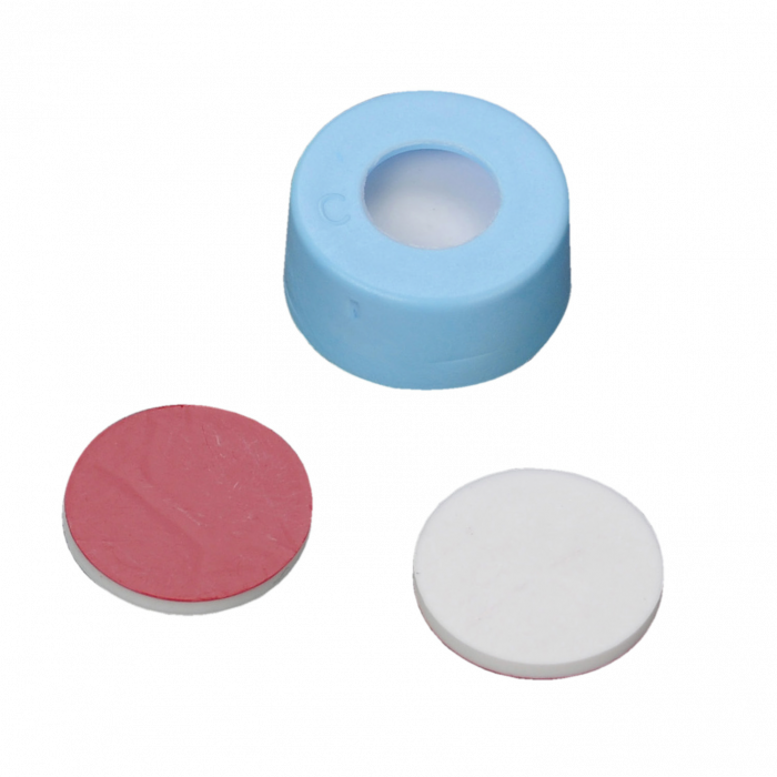 WHEATON® µL MicroLiter® 11 mm Snap Cap With Septa, PTFE/Silicone, Light Blue, Case of 100