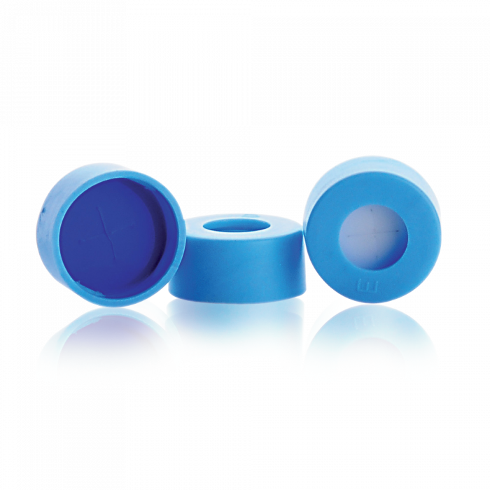 WHEATON® µL MicroLiter® 11 mm Snap Cap With Septa, Pre-Cut, PTFE / Silicone Septa, Light Blue, Case of 100