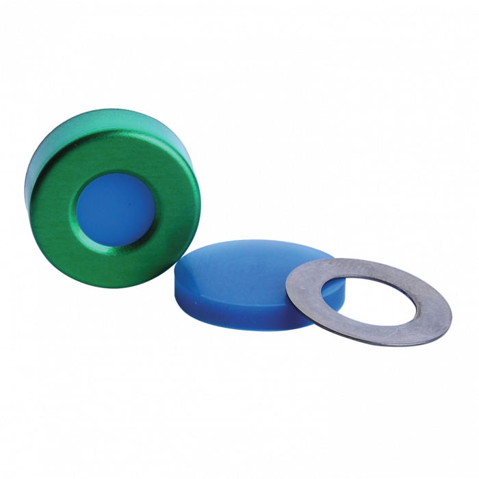"""WHEATON® µL MicroLiter® 20 mm Crimp Seal With Septa, AlumiTin™ Large Opening, Natural PTFE / Blue Silicone, 0.125"""""""