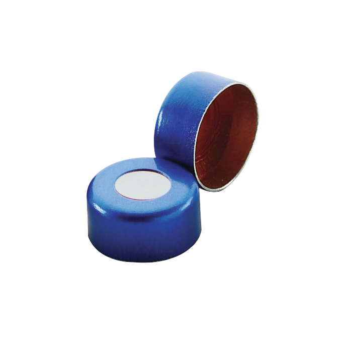 WHEATON® Lined Aluminum Seal, PTFE / Silicone, Open Top, Blue, 11 mm